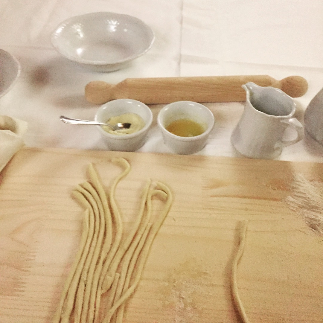 Making pici, traditional Tuscan pasta